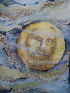 #4 Contemplating the Man in the Moon by C.A.Centre. watercolor & gunpowder