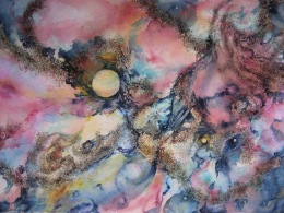 #5 ''Endless Space'' gunpowder and watercolor, H 20'' x W 28'', by C.A.Centre