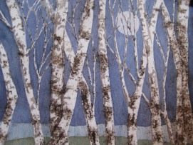 ''Beyond the Birches'', gunpowder and watercolor, H 8'' x W 10'', by C.A.Centre