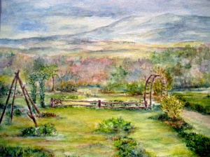 Watercolor of Rosaly's Garden